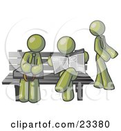 Clipart Illustration Of Olive Green Men At A Bench At A Bus Stop