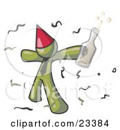 Happy Olive Green Man Partying With A Party Hat Confetti And A Bottle Of Liquor