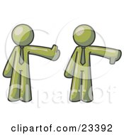 Clipart Illustration Of An Olive Green Business Man Giving The Thumbs Up Then The Thumbs Down