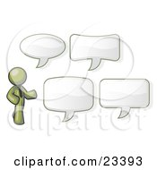 Clipart Illustration Of An Olive Green Businessman With Four Different Word Bubbles by Leo Blanchette