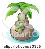 Clipart Illustration Of An Olive Green Man Sitting All Alone With A Palm Tree On A Deserted Island