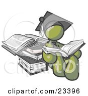 Clipart Illustration Of An Olive Green Male Student In A Graduation Cap Reading A Book And Leaning Against A Stack Of Books