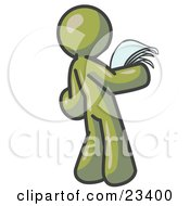 Clipart Illustration Of A Serious Olive Green Man Reading Papers And Documents by Leo Blanchette