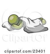Clipart Illustration Of A Comfortable Olive Green Man Sleeping On The Floor With A Sheet Over Him