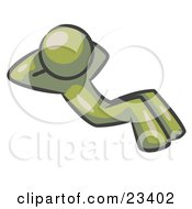 Clipart Illustration Of An Olive Green Man Doing Sit Ups While Strength Training
