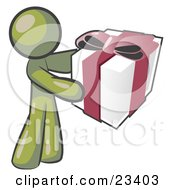 Clipart Illustration Of A Thoughtful Olive Green Man Holding A Christmas Birthday Valentines Day Or Anniversary Gift Wrapped In White Paper With Red Ribbon And A Bow