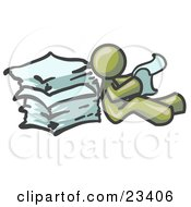 Clipart Illustration Of An Olive Green Man Leaning Against A Stack Of Papers