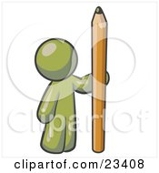 Clipart Illustration Of An Olive Green Man Holding Up And Standing Beside A Giant Yellow Number Two Pencil by Leo Blanchette