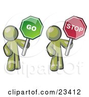 Clipart Illustration Of Olive Green Men Holding Red And Green Stop And Go Signs by Leo Blanchette