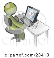 Clipart Illustration Of An Olive Green Doctor Man Sitting At A Computer And Viewing An Xray Of A Head