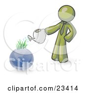 Olive Green Man Using A Watering Can To Water New Grass Growing On Planet Earth Symbolizing Someone Caring For The Environment