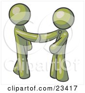 Clipart Illustration Of An Olive Green Man Wearing A Tie Shaking Hands With Another Upon Agreement Of A Business Deal