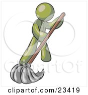 Clipart Illustration Of An Olive Green Man Wearing A Tie Using A Mop While Mopping A Hard Floor To Clean Up A Mess Or Spill