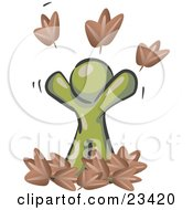 Clipart Illustration Of A Carefree Olive Green Man Tossing Up Autumn Leaves In The Air Symbolizing Happiness And Freedom