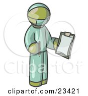 Clipart Illustration Of An Olive Green Surgeon Man In Green Scrubs Holding A Pen And Clipboard