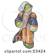 Clipart Illustration Of An Olive Green George Washington Character