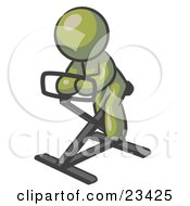 Clipart Illustration Of An Olive Green Man Exercising On A Stationary Bicycle