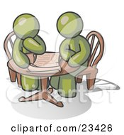 Clipart Illustration Of Two Olive Green Businessmen Sitting At A Table Discussing Papers