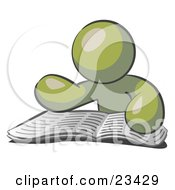 Clipart Illustration Of An Olive Green Man Character Seated And Reading The Daily Newspaper To Brush Up On Current Events