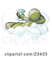 Clipart Illustration Of A Relaxed Olive Green Man Drinking A Martini And Kicking Back On Cloud Nine