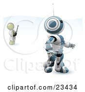 Clipart Illustration Of An Olive Green Man Inventor Operating An Blue Robot With A Remote Control by Leo Blanchette