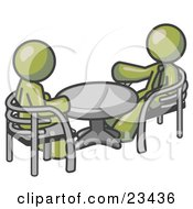 Clipart Illustration Of Two Olive Green Business Men Sitting Across From Eachother At A Table During A Meeting