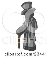 Clipart Illustration Of A Navy Blue Man Depicting Abraham Lincoln With A Cane by Leo Blanchette
