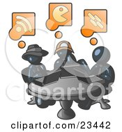 Clipart Illustration Of Three Navy Blue Men Using Laptops In An Internet Cafe