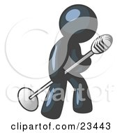 Clipart Illustration Of A Navy Blue Man In A Tie Singing Songs On Stage During A Concert Or At A Karaoke Bar While Tipping The Microphone