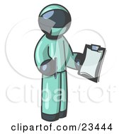 Navy Blue Surgeon Man In Green Scrubs Holding A Pen And Clipboard
