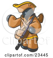 Clipart Illustration Of A Navy Blue Man In Hunting Gear Carrying A Rifle