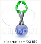 Navy Blue Man Standing On Top Of The Blue Planet Earth And Holding Up Three Green Arrows Forming A Triangle And Moving In A Clockwise Motion Symbolizing Renewable Energy And Recycling