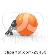 Strong Navy Blue Business Man Pushing An Orange Sphere