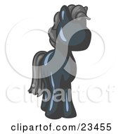 Clipart Illustration Of A Cute Navy Blue Pony Horse Looking Out At The Viewer