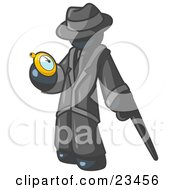Clipart Illustration Of A Navy Blue Businessman Checking His Pocket Watch