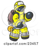 Clipart Illustration Of A Navy Blue Fireman In A Uniform Fighting A Fire by Leo Blanchette