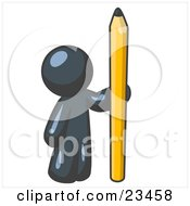 Navy Blue Man Holding Up And Standing Beside A Giant Yellow Number Two Pencil