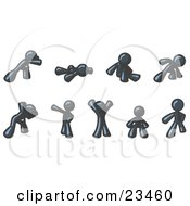 Clipart Illustration Of A Navy Blue Man Doing Different Exercises And Stretches In A Fitness Gym