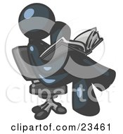 Clipart Illustration Of A Navy Blue Man Sitting Cross Legged In A Chair And Reading A Book
