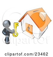 Clipart Illustration Of A Navy Blue Businessman Holding A Skeleton Key And Standing In Front Of A House With A Coin Slot And Keyhole