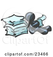 Clipart Illustration Of A Navy Blue Man Leaning Against A Stack Of Papers