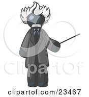 Clipart Illustration Of A Navy Blue Man Depicted As Albert Einstein Holding A Pointer Stick