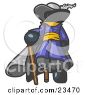 Clipart Illustration Of A Navy Blue Male Pirate With A Cane And A Peg Leg