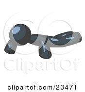 Clipart Illustration Of A Navy Blue Man Doing Pushups While Strength Training