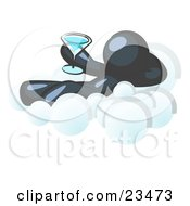 Clipart Illustration Of A Relaxed Navy Blue Man Drinking A Martini And Kicking Back On Cloud Nine