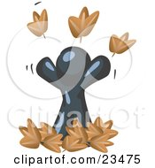 Carefree Navy Blue Man Tossing Up Autumn Leaves In The Air Symbolizing Happiness And Freedom