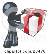 Clipart Illustration Of A Thoughtful Navy Blue Man Holding A Christmas Birthday Valentines Day Or Anniversary Gift Wrapped In White Paper With Red Ribbon And A Bow