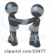 Clipart Illustration Of A Navy Blue Man Wearing A Tie Shaking Hands With Another Upon Agreement Of A Business Deal