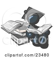Navy Blue Male Student In A Graduation Cap Reading A Book And Leaning Against A Stack Of Books
