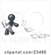 Navy Blue Man Dropping White Sheets Of Paper On A Ground And Leaving A Paper Trail Symbolizing Waste